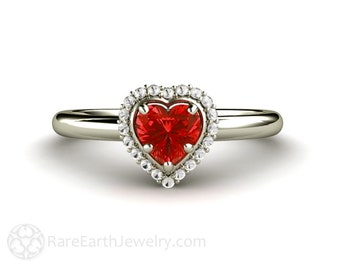 Red Sapphire Ring Sapphire Engagement Ring Heart Promise Ring Halo 14K or 18K Gold Red Gemstone Ring