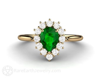 Tsavorite Garnet Ring Green Garnet Engagement Ring with Diamonds 14K or 18K Gold Cluster Halo
