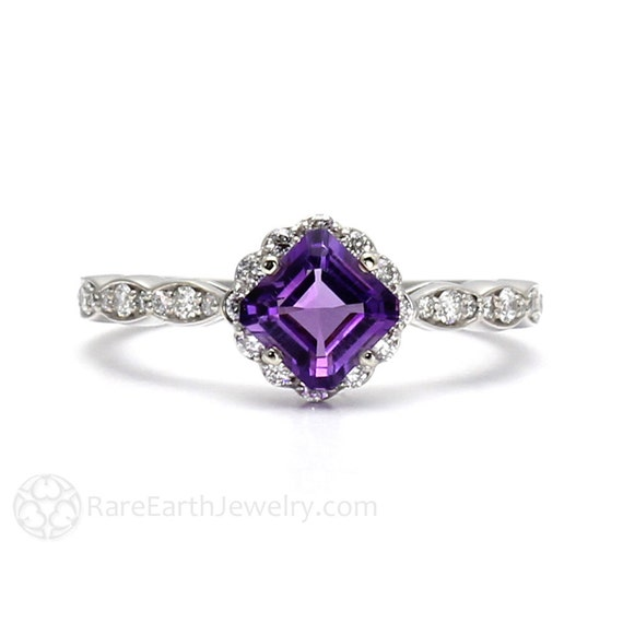 asscher amethyst ring halo unique engagement by