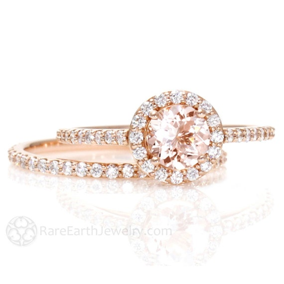 morganite engagement ring conflict free halo by