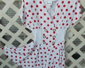 Milano Fashion made in USA short Red Polka Dot Romper 80s does 40s One piece Short Skort. Rayon and Cotton NWOT neverworn
