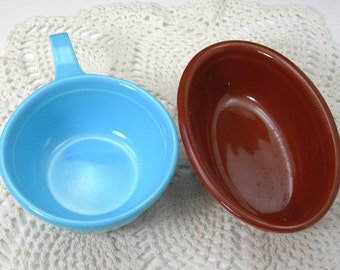 TST Oven Serve Casseroles - Taylor Smith Taylor Dishes - Blue Handled Bowl - Brown Oval Individual Casserole - Floral - Vintage Kitchen