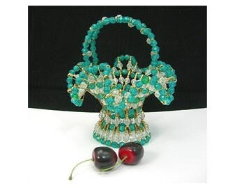 """Safety Pin Beaded Basket, Green and Clear Plastic Beads, 6-3/4"""" tall, Handmade, Vintage c1960, Kitschy Home Decor"""