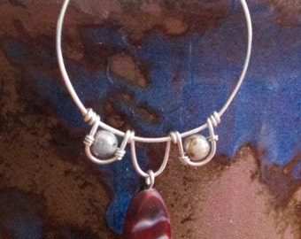 Sterling Silver Hoops with Three Loops and Wire Wrapped Silver & Maroon Czech Glass