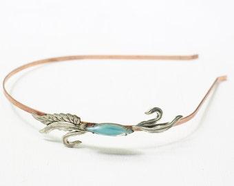 Art nouveau leaf bridal headband vintage aquamarine jewel aqua blue silver copper 1920's style