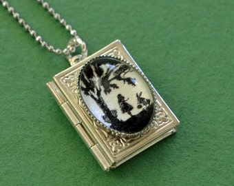 Sale 20% Off // ALICE IN WONDERLAND Book Locket Necklace, pendant on chain - Silhouette Jewelry // Coupon Code SALE20