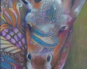 original art aceo drawing colorful young moose zentangle 14x13 matted