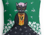 Frida Catlo - Cat Folk Art Throw Pillow