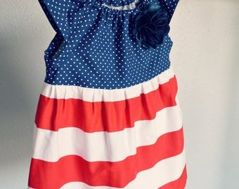 4th of July dress outfit baby girl toddler red white blue Navy red stripes nautical dress first birthday dress 4th of July baby outfit USA