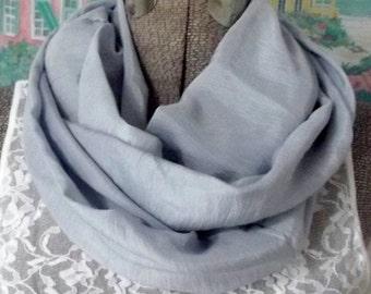Handmade Infinity Scarf, Silk, Ice Blue, Soft, Elegant, Cool, Breastfeeding Cover