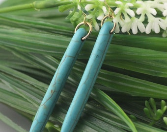 """1.75"""" Turquoise Howlite Spiked Earrings"""