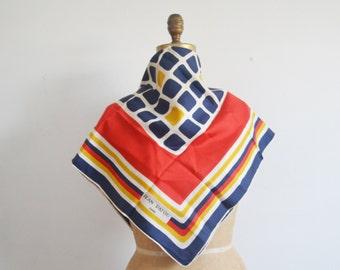 Vintage Jean Patou  scarf -Silk scarf -60s mod geometric scarf