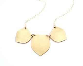 Tribal Petal Bib Necklace - Brass, Gold Fill or Sterling Silver
