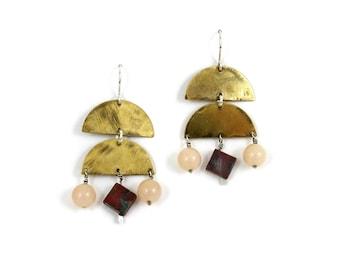 Stone Veil Earrings // red jasper & pink aventurine