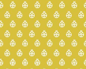 Boho Fabric, Ladybug Fabric, Cotton Fabric by the Yard, Tula Pink, Acorn Forest by Fabric Shoppe, Ladybug in Mustard- Fat Quarter to Yardage