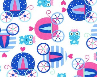 Princess Life Princess fabric by Ann Kelle, Blue Princess Fabric, Blue Fabric, Frog Prince and Carriage in Crystal, You Choose The Cut,