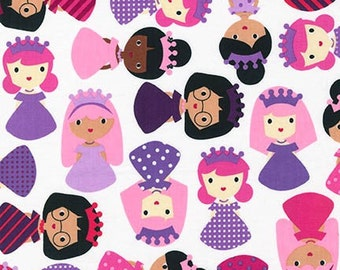 Cotton Fabric, Designer Fabric, Princess Life Princess fabric by Ann Kelle and Robert Kaufman, Princess in Slipper White, Fabric by the yard