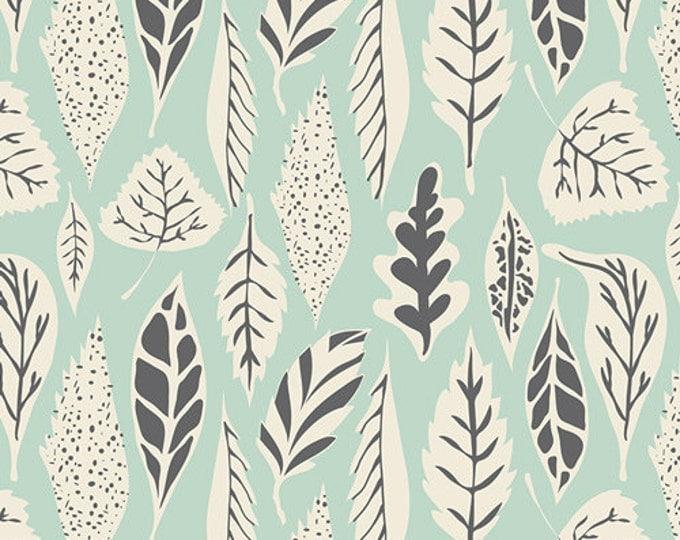 Hello Bear fabric by Bonnie Christine for Art Gallery Fabrics- Leaflet in Eucalyptus, Green fabric, Fat Quarter, Half Yards, Yardage
