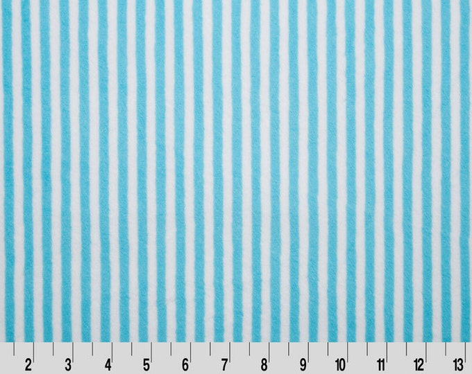 SALE minky, Baby fabric, Cuddle fabric, Minky Fabric, Baby Blanket fabric by Shannon Fabrics- Mini Stripe in Turquoise, Choose your cut.