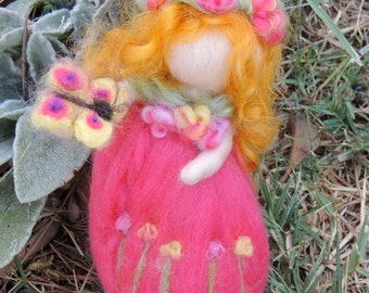 Needle felted wool Fairy - Purple Garden Maiden - Needle felted - Waldorf Inspired by Rebecca Varon