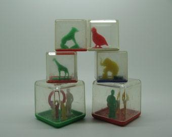 Vintage Plastic Puzzle Rattle Blocks Two Sizes Set 6