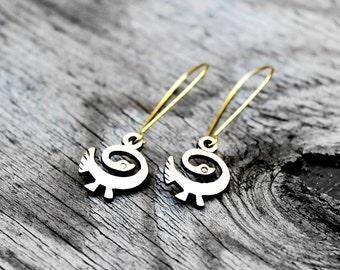 Sankofa Earrings, Adinkra Earrings, African Earrings, Sankofa Bird, Brass Earrings, Solid Brass, Love My History Brass Sankofa Bird Earrings