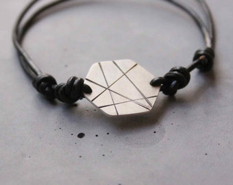 Hexagon Silver Bracelet for Men - Sterling Silver Adjustable Hexagon Bracelet with Black Lines and Leather