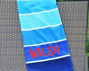 BASIC BEACH Personalized Monogrammed Towel - Julianne Originals
