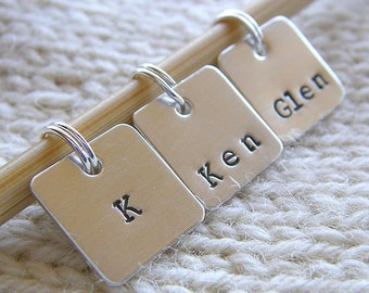 """Personalized Knitting / Crochet Stitch Markers - Hand Stamped Sterling Silver - Set of 3 Removable 1/2"""" Square Stitch Markers - Gift Set"""