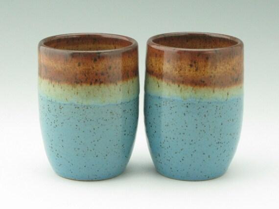 Handmade Pottery Tumbler Ceramic Bathroom Cup 16 Oz Honey