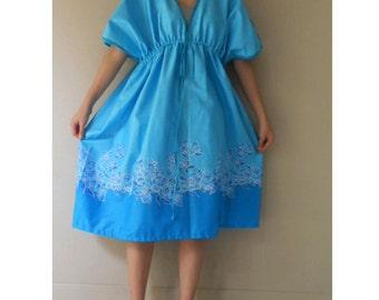 Sale Sky Blue Floral Batik Cotton Boho Summer Short Kimono Dress S-L  (BT 17)