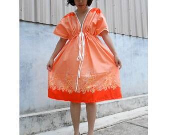 Two Tone Orange Flower Thai Batik Cotton Short Kimono Summer Dress S-L (BT 15)