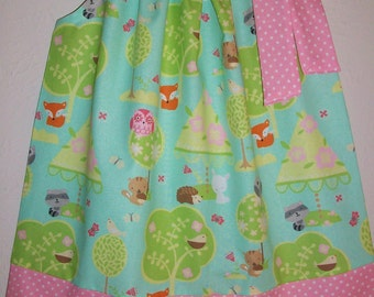 Pillowcase Dress Forest Animals Dress with Owl Fox Bunny Birds Hedgehog Woodland Animals Girls Dresses Kids Clothes Forest Birthday Party