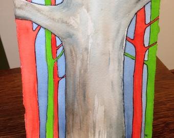 painting Trees Reaching Original art watercolor