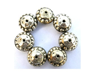 10 Ethnic style metal beads silver color with black, vintage beads 16mmx10mm