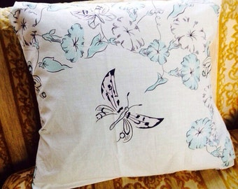 lovely vintage aqua turquoise blue floral pillow cover with butterflies 16x16 mid century cottage home decor