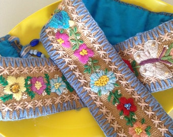 Vintage scandinavian crewel embroidery bird and flower belt or door hanger burlap cottage home decor