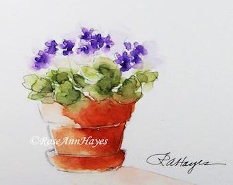 Purple African Violets Watercolor Painting Print Flowers Floral Bouquet