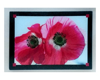 Red Poppies Glass cutting board, Poppies trivet,Red poppies art, red poppies gifts, red poppies kitchen art,red poppies kitchen ,flower gift
