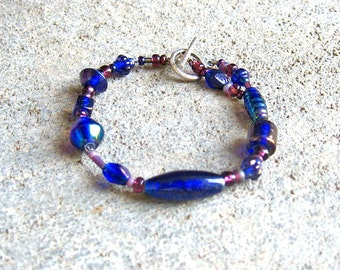 Sapphire Blue Pink and Purple Beaded Bracelet