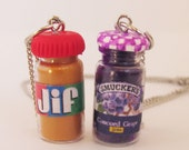 BFF SET PB and J necklaces, peanut Butter, Jelly, Pbj, Peanut Butter Jewelry, Jelly necklace, Best Friends, Set