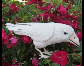 White Raven Soft Sculpture Bird