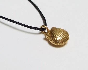 Fine Silver 24k Gold Dipped Seashell, Tiny Charm Necklace on Cord, 14k Gold Filled Clasp, Yoga Jewelry, Active Lifestyle, Minimalist, Boho