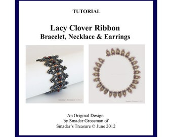 Beading Tutorial, Lacy Clover Ribbon Bracelet, Necklace, Earrings. Pattern with Twin SuperDuo and Drop Beads. Jewelry Pattern Beadweaving
