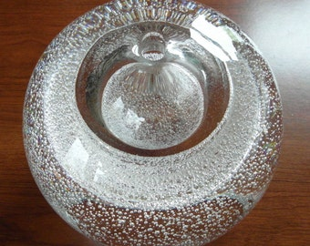 SALE Polish Glass Paperweight Vase Decorative Crystal Unusual