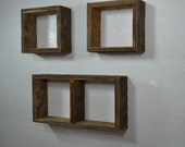 Shadow box wall shelf set of 3 from ecofriendly wood great rustic wall decor handmade in the USA