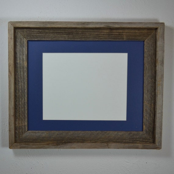 11x14 Rustic Style Natural Gray Wood Frame With Blue By