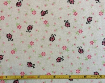 New ladybugs and flowers on cotton jersey knit fabric 1 yd