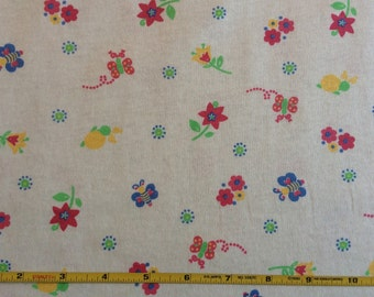 New butterflies and flowers on cotton jersey knit fabric 1 yd