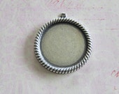 NEW Large Silver 27mm Round Bezel Charm 3684